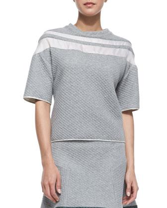 Half-Sleeve Organza-Inset Sweatshirt