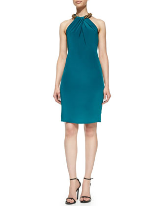 Halter Beaded-Neck Cocktail Dress, Teal