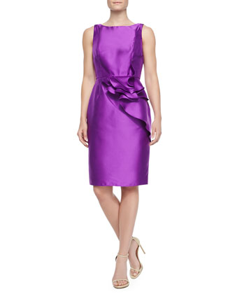 Ruffled-Peplum Cocktail Sheath Dress
