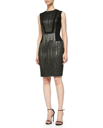 Sleeveless Metallic-Textured Cocktail Dress