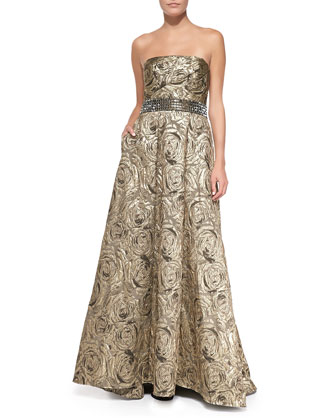 Strapless Jacquard Ball Gown, Burnished Gold