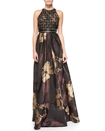 Halter Metallic Floral Jacquard Gown