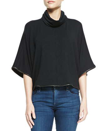 Cowl Turtleneck Top With Leather Piping
