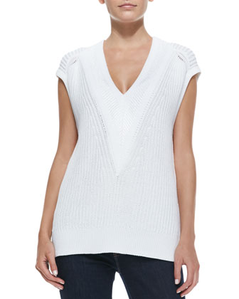 Talia Knit Sleeveless Pullover, White