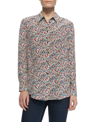Reese Button-Down Wild Floral-Print Blouse