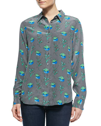 Brett Button-Down Floral-Print Blouse