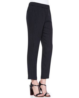 Korene Pinstripe Pull-On Cropped Pants