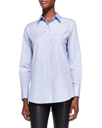 Nareen Poplin Button-Front Shirt, Blue