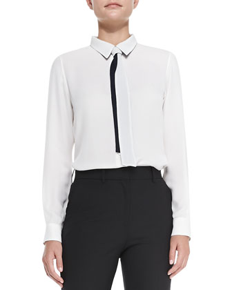 Emmanuelle Double-Georgette Button Blouse
