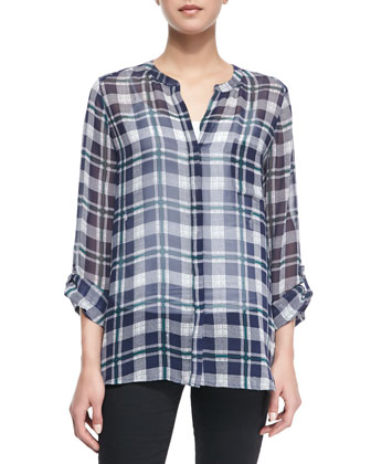 Nura Plaid Long-Sleeve Top