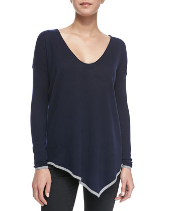 Niami Contrast-Tipping V-Neck Sweater