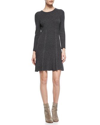 Jolia Drop-Skirt Knit Sweaterdress