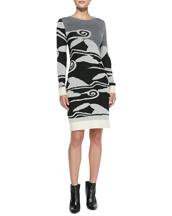 Cloud Wave-Print Sweaterdress