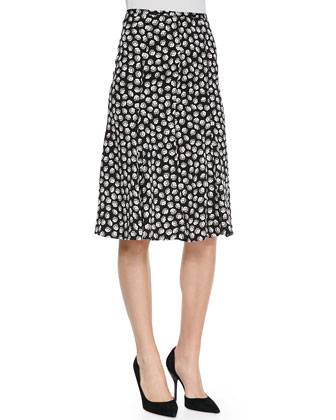 Rosalita Flared Ballet Rose-Print Skirt