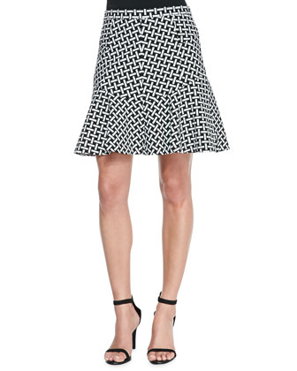 Weave-Print Flirty Flared Skirt