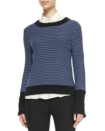 Sabina Rib-Trim Patterned Sweater