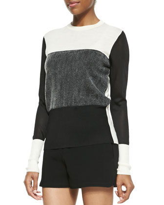 Marissa Colorblock Knit Sweater, Black