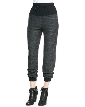 Owen Solid-Top Melange Sweatpants