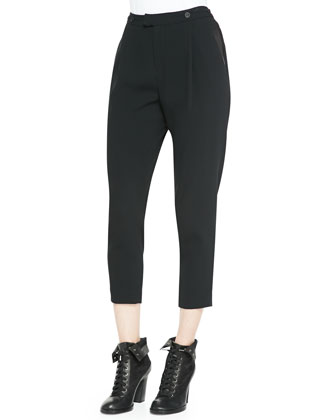 Park Pleated Cropped Crepe Pants