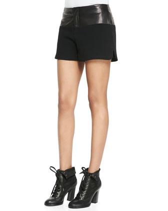 Kelly Leather-Waist Shorts