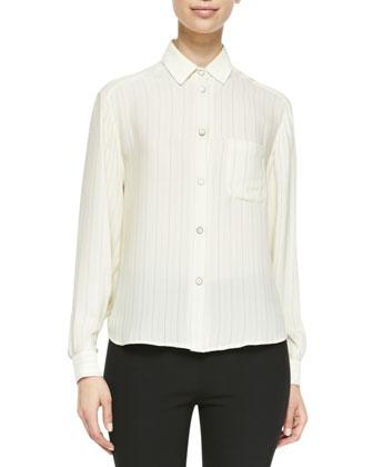 Jo Anne Striped Silk Blouse