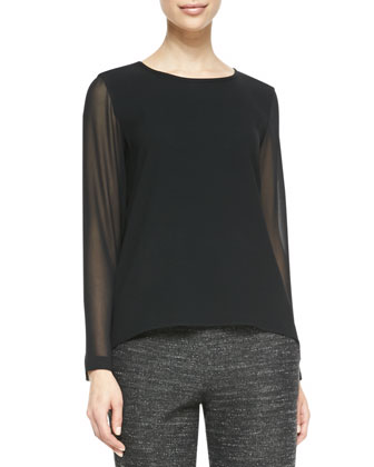 Harper Sheer-Sleeve Blouse