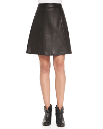 Gayle Leather-Patch Crepe Skirt