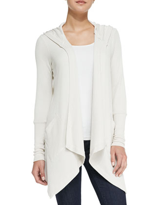 Hooded Drape-Front Thermal Cardigan, Swan