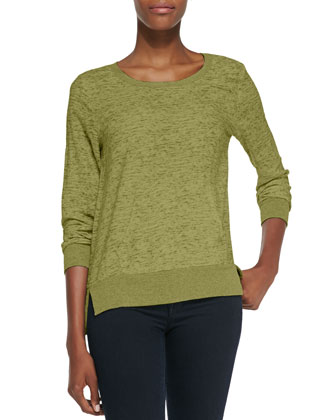 Aveley Slub Knit Sweatshirt Top, Hunter