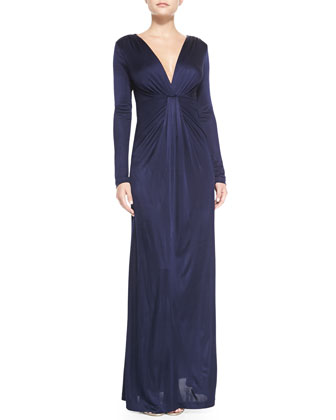 Long-Sleeve Drape-Front Gown