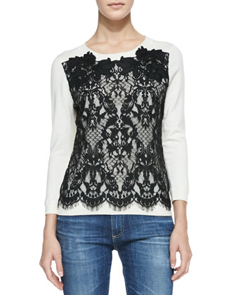 Lace-Front Pullover Sweater