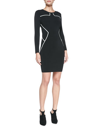 Josephine Long-Sleeve Contrast-Trim Sheath Dress