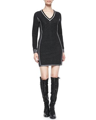 Taylor Metallic-Trim Sweaterdress