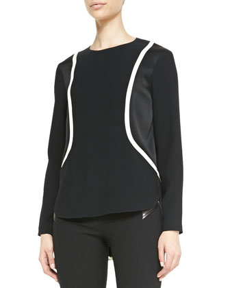 Andrea Long-Sleeve Two-Tone Top