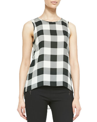Harper Magnified Houndstooth Silk Top