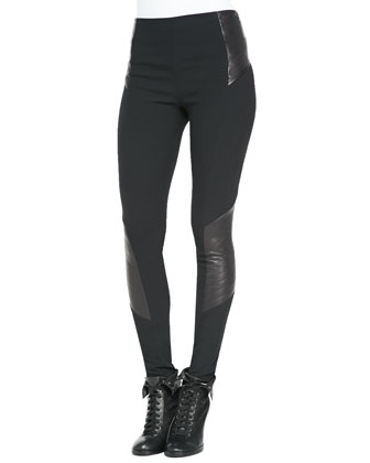 Elettra Ponte/Leather Leggings