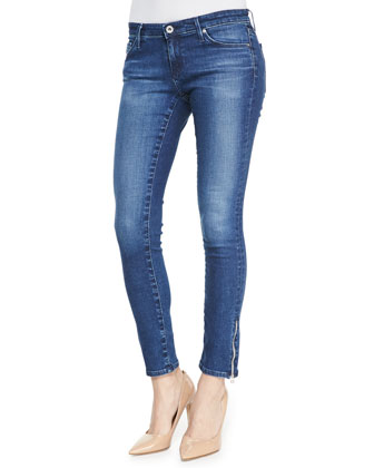 Zip-Up Legging Ankle Skinny Jeans, Woodland