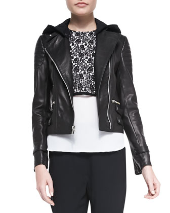 Night Studded Leather Moto Jacket