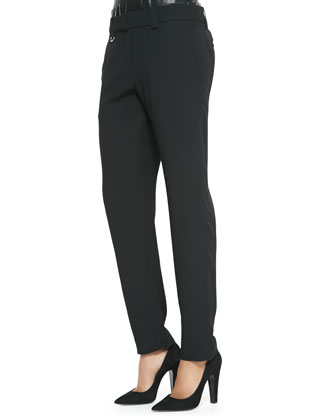 Elliott Leather-Trim Straight-Leg Pants