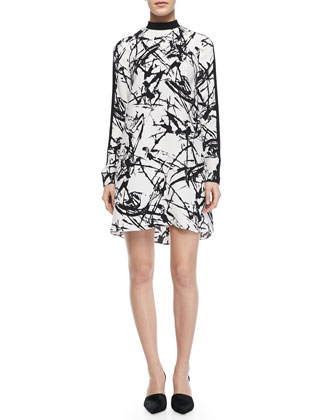 Isley Printed Mock-Neck Dress