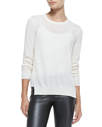 Theodate Sheer Ribbed-Hem Sweater