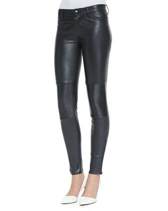 Nicola Zipper-Cuff Leather Moto Pants