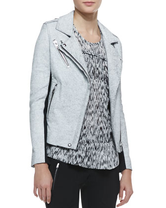 Ilaria Crackled Leather/Wool Jacket