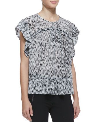 Carla Printed Stretch-Silk Top