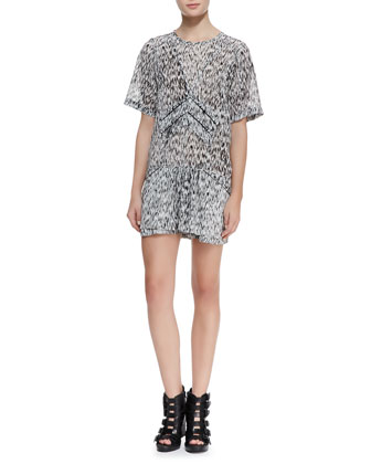 Carline Short-Sleeve Printed Dress