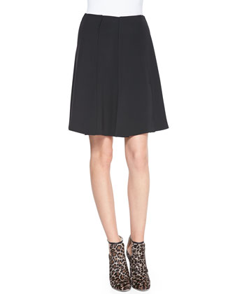 Anita Pleated Crepe Flare Skirt