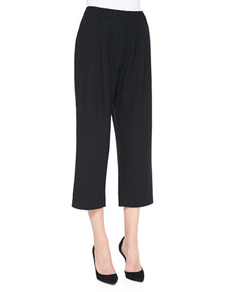 Gina Pleated-Front Cropped Pants
