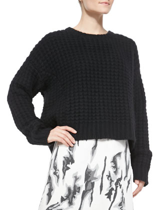 Chiara Waffle-Rib Cropped Sweater