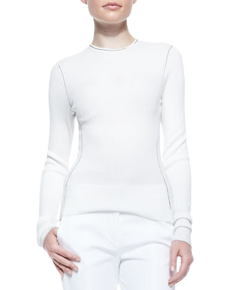Long-Sleeve Ribbed Crewneck Top, Ivory