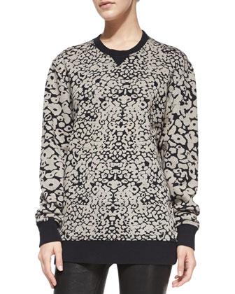 Amoeba-Print Knit Sweatshirt
